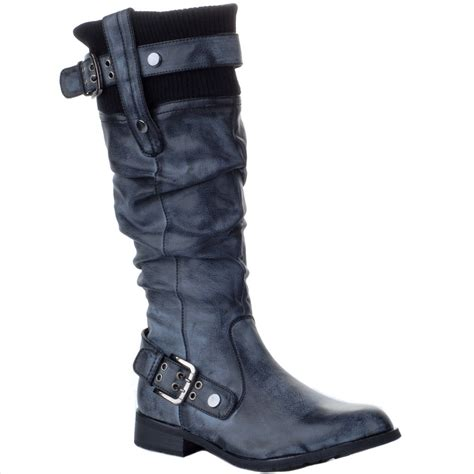 black calf high biker boots sizes uk 3 8 ebay