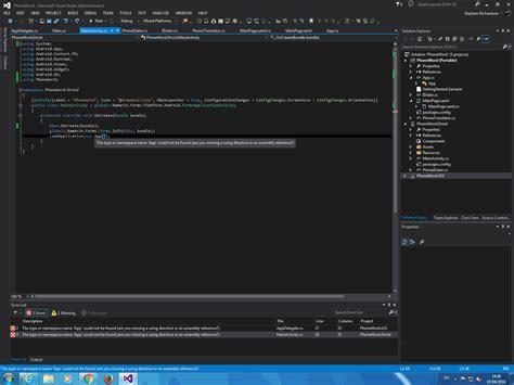 tutorial xamarin c xamarin forms quickstart tutorial error the type or