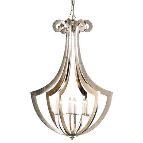 Silver Leaf Chandelier Clion Ribbed Silver Leaf Contemporary 6 Light Chandelier Kathy Kuo Home