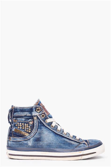 Sneakers Denim 1 diesel denim mid exposure sneakers in blue lyst
