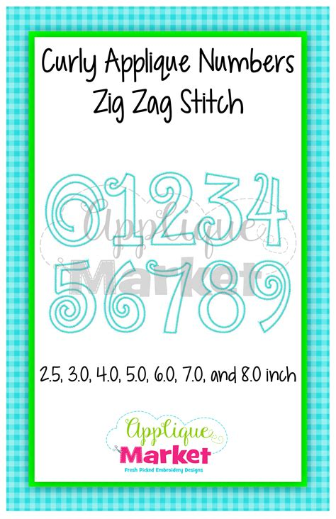 applique zig zag curly applique numbers zig zag stitch