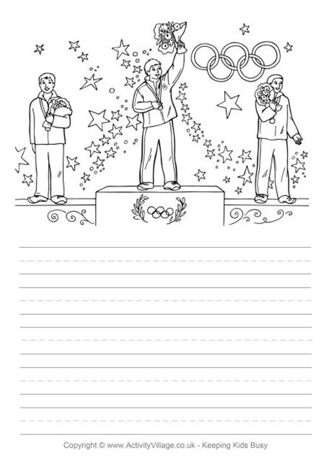 printable handwriting paper activity village olympic medals story paper