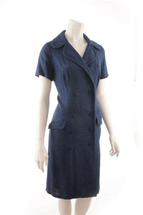 Modee Kleider by Vintage Kleid Dunkelblau Leinenlook Vintage Damen 60er