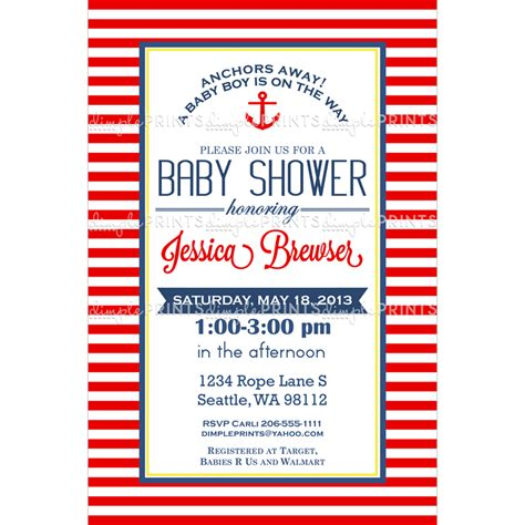 nautical baby shower invitation digital printable dimple