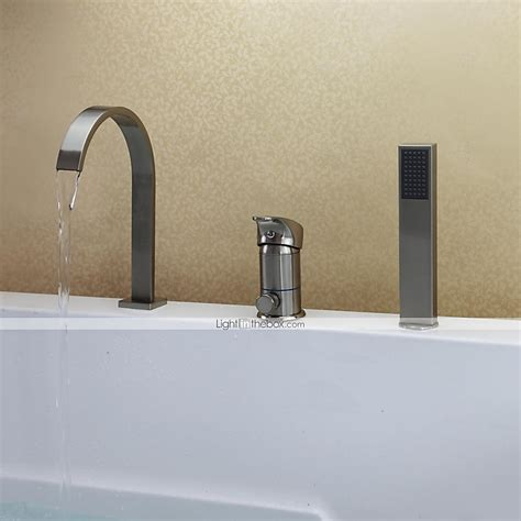 contemporary nickel brushed three holes single handle contemporary tub and shower waterfall handshower included