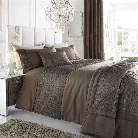 Brown Duvets brown taupe colour stylish textured faux silk duvet cover luxury beautiful bedding
