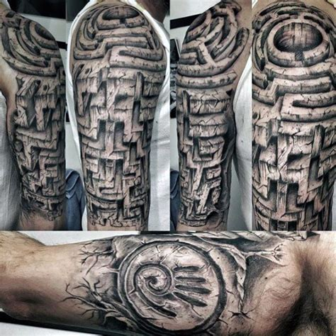 70 maze tattoo designs for men geometric puzzle ink ideas
