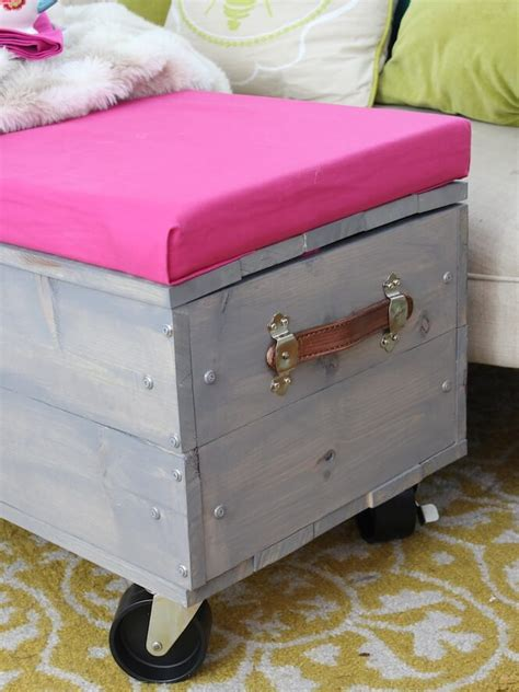 rolling ottoman with storage diy rolling storage ottoman chaotically creative