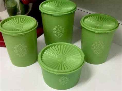 Tupperware Canister vintage tupperware 4 apple green canister set with