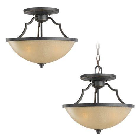 Sea Gull Lighting Sea Gull Lighting Roslyn 3 Light Flemish Bronze Semi Flush Mount 77520 845 The Home Depot