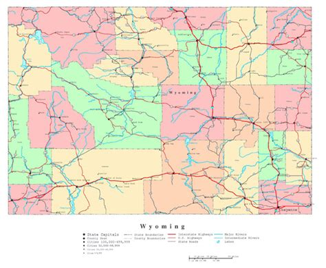 detailed map of wyoming large detailed administrative map of wyoming state with