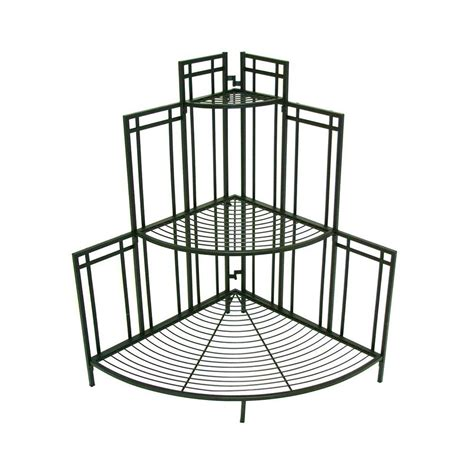 corner plant rack patio life mission pro 34 5 in x 35 in black steel corner plant stand 81017 the home depot