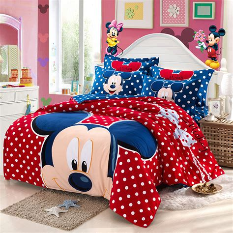 Mickey Mouse Bed Sets Mickey Mouse Bedding Set King Size Children 4pc Comforter Bedding Sets Bedclothes Cotton