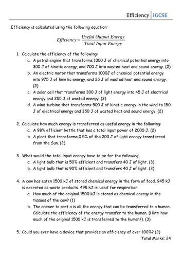 Calculating Power Worksheet Answer Key