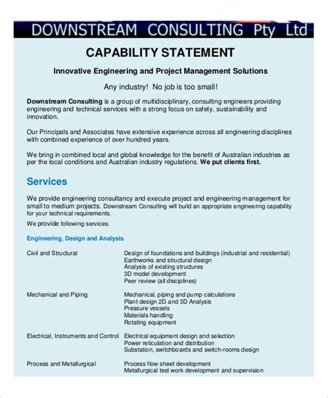 statement of capability template capability statement template business capability