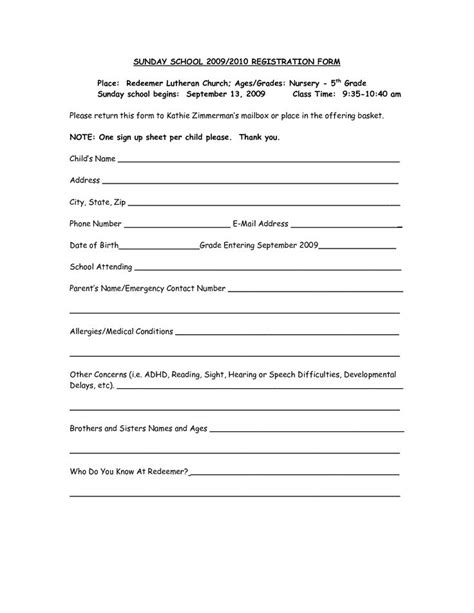 65 Best Images About Sunday School On Pinterest Sunday School Children And Crown Of Thorns Children S Church Registration Form Template