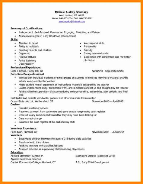 what to put on a resume for daycare 28 images