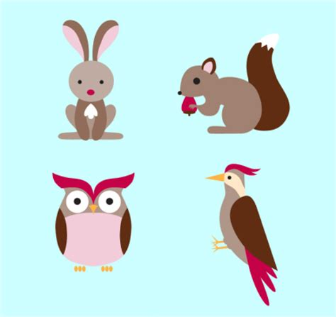 imagenes vectores de animales 4 de dibujos animados material de animales del bosque