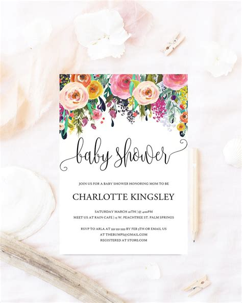 Baby Shower Invite by Floral Baby Shower Invitation Watercolor Flowers