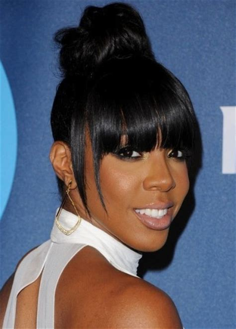 types of updo hairstyles with bangs african amer kelly rowland high bun blunt hair with bangs african
