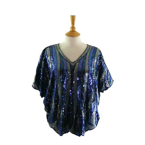 80s batwing sequinned top blue 17 vintage fashion