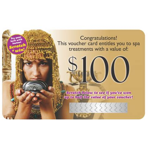 Scratch And Win Gift Cards - scratch win gift card 100 cleopatra s temple day spa shop