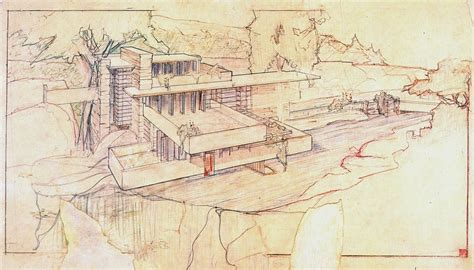 Fallingwater by Frank Lloyd Wright On Drawing Part One Beloose Graphic