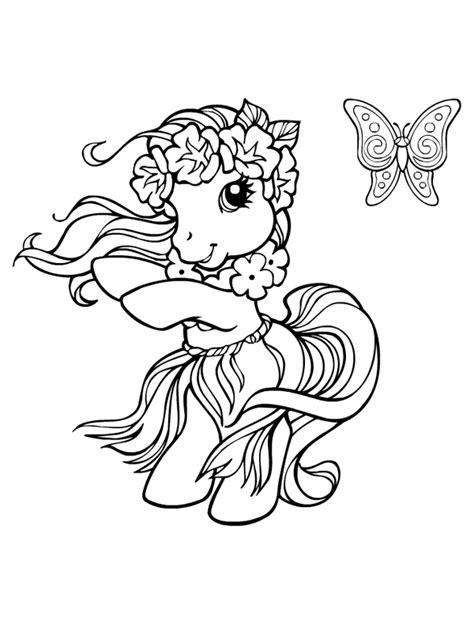 Coloriage a imprimer petit poney danse hawaienne gratuit