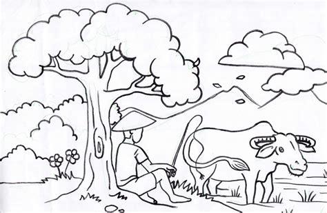 Sketsa Gambar Pemandangan Untuk Anak Tk Garlerisket