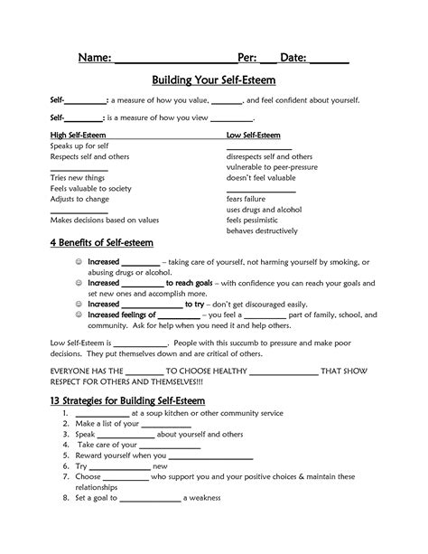 Free Self Esteem Worksheets For Adults by 17 Best Images Of Worksheets For