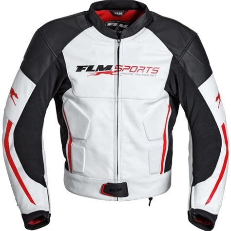 flm sports leather combi jacket  whitered
