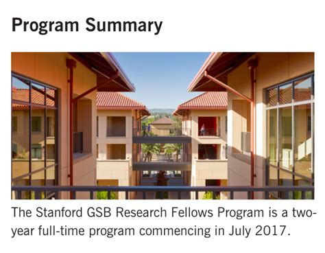 Stanford Business School Mba Scholarship by Research Fellows Program Stanford Graduate School Of