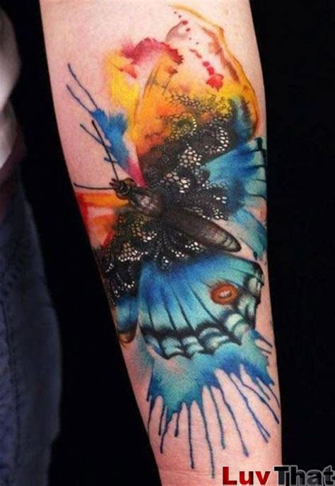 watercolor butterfly tattoo 25 amazing watercolor tattoos luvthat