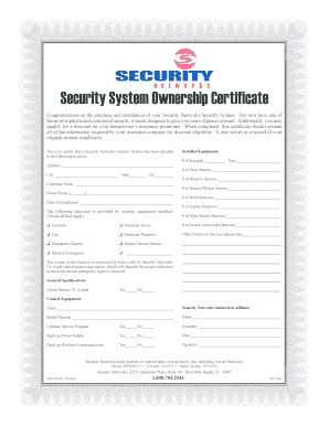 alarm installation certificate template fillable security system ownership certificate