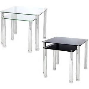 Glass Side Tables For Living Room Uk Nest Of 2 Glass Chrome Tables Home Lounge Living Room Set Side End L Coffee Ebay