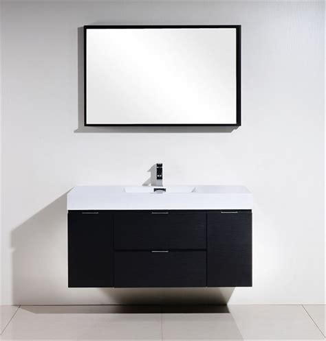 Modern Wall Mounted Bathroom Vanities Bliss 48 Quot Black Wall Mount Single Sink Modern Bathroom Vanity