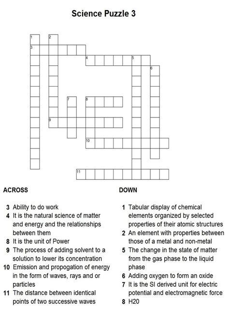 printable crossword puzzle science science puzzle 3