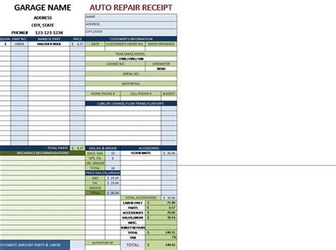 Garage Repair Invoice Template Hardhost Info Garage Receipt Template