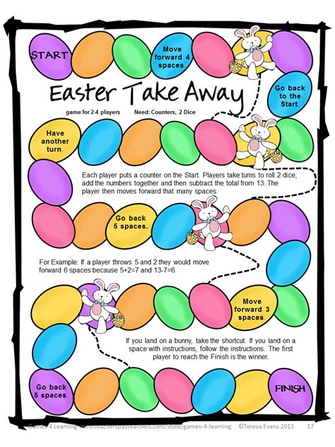 printable easter board games fun games 4 learning easter math freebies happy easter