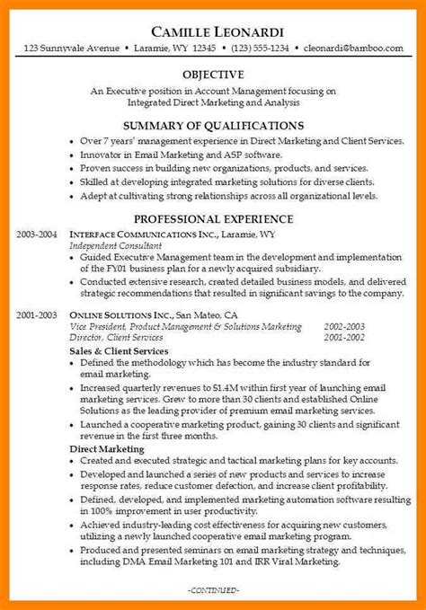 business management resume sle how to write a resume for management position 28 images