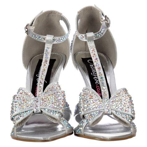 silver high heels with bows onlineshoe diamante t bar mid heel diamante