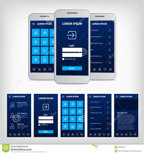 mobile interface design vector conception of blue mobile user interface stock