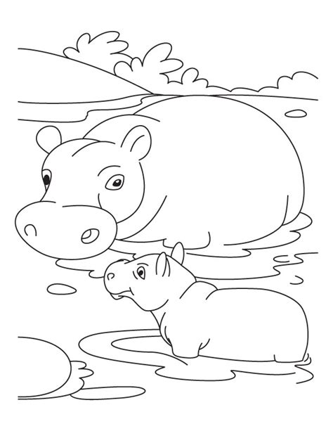 baby hippo with mother hippo coloring pages