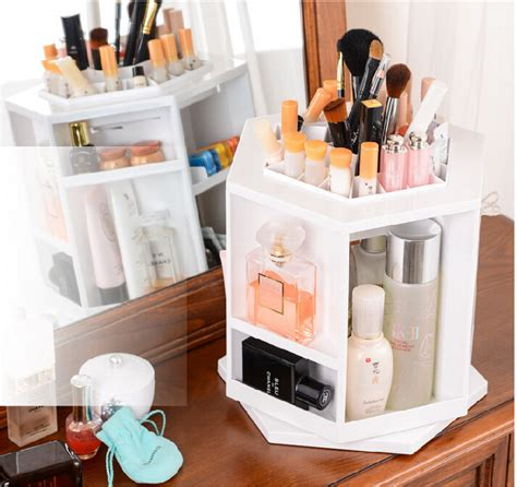 Spin Cosmetic Organizer By L360 White 2015 new plastic 360 degree spinning cosmetic organizer display makeup box brush cleanup