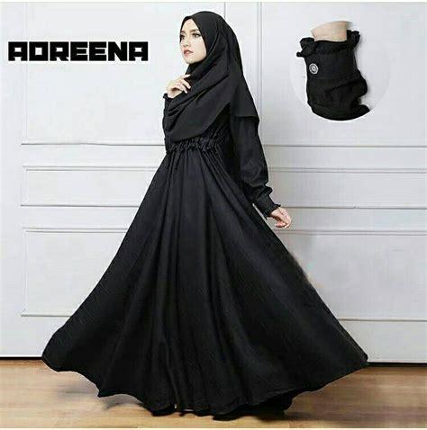 Gamis Hitam baju gamis payung polos terbaru adreena hitam baju gamis