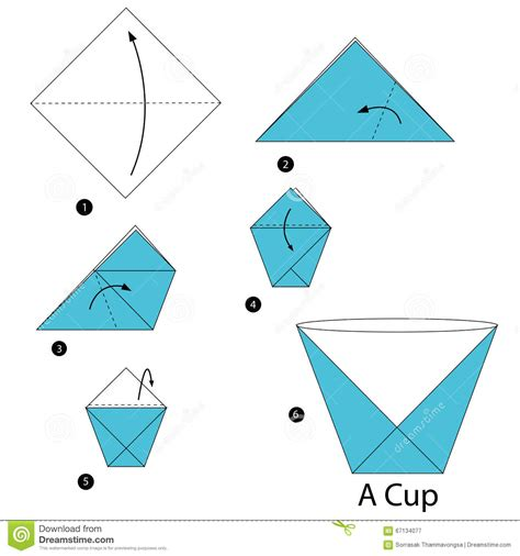 How To Make A Paper Cup - step by step how to make origami a cup stock