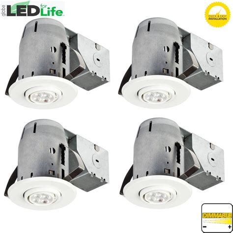 dimmable led pot light bulbs globe electric 3 in white ic rated dimmable recessed