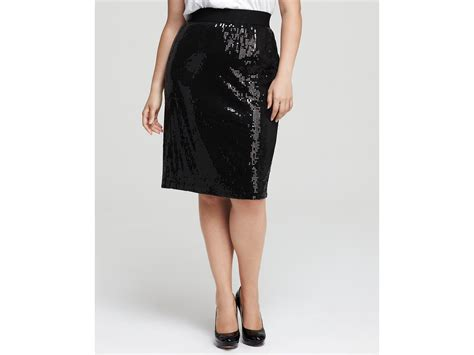 plus size sequin pencil skirt in black black w