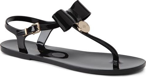 flat sandals with bows mulberry jelly bow flat sandals in black lyst