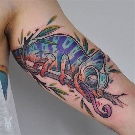 smile more tattoo 35 colorful chameleon ideas cheerful designs that
